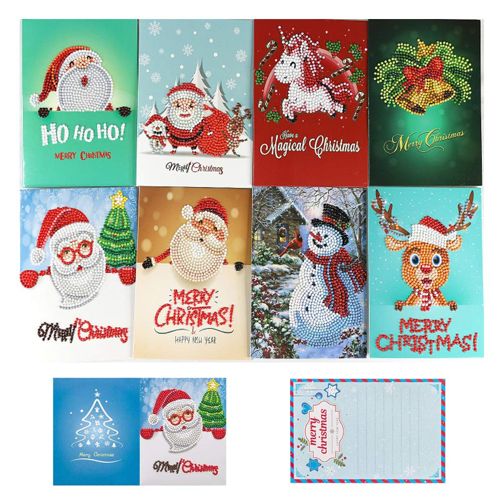 OWAY 8 Pack Christmas Cards Diamond Painting Kits Paint by Number Kits Christmas DIY Gift for Holiday, Friends and Family by OWAY