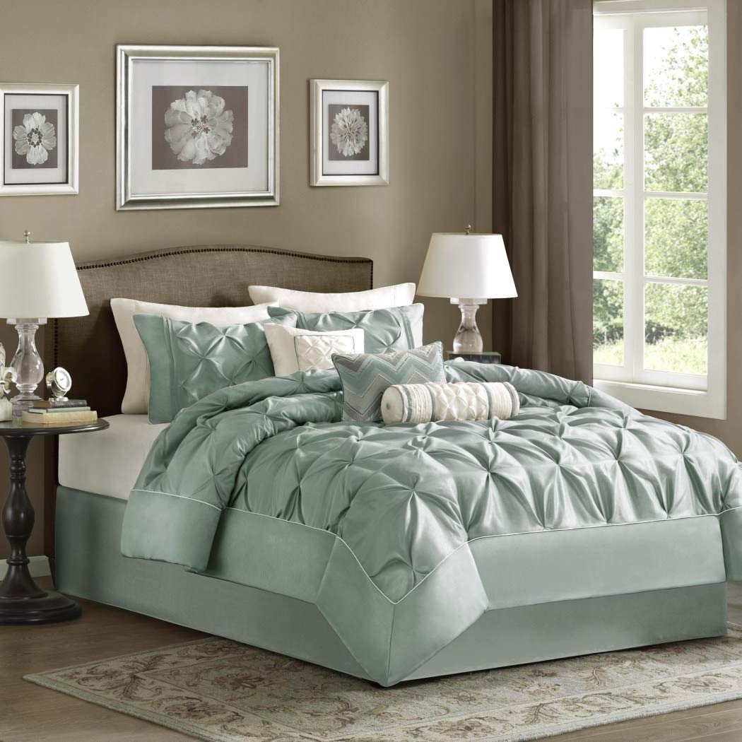 7 Piece Seafoam Green Blue Pinch Pleated Comforter Queen Set, Plush Pinched Pleat Bedding, Chic Pintuck Diamond Tufted Texture Themed, Stylish Pin Tuck Puckered Texture, Dusty