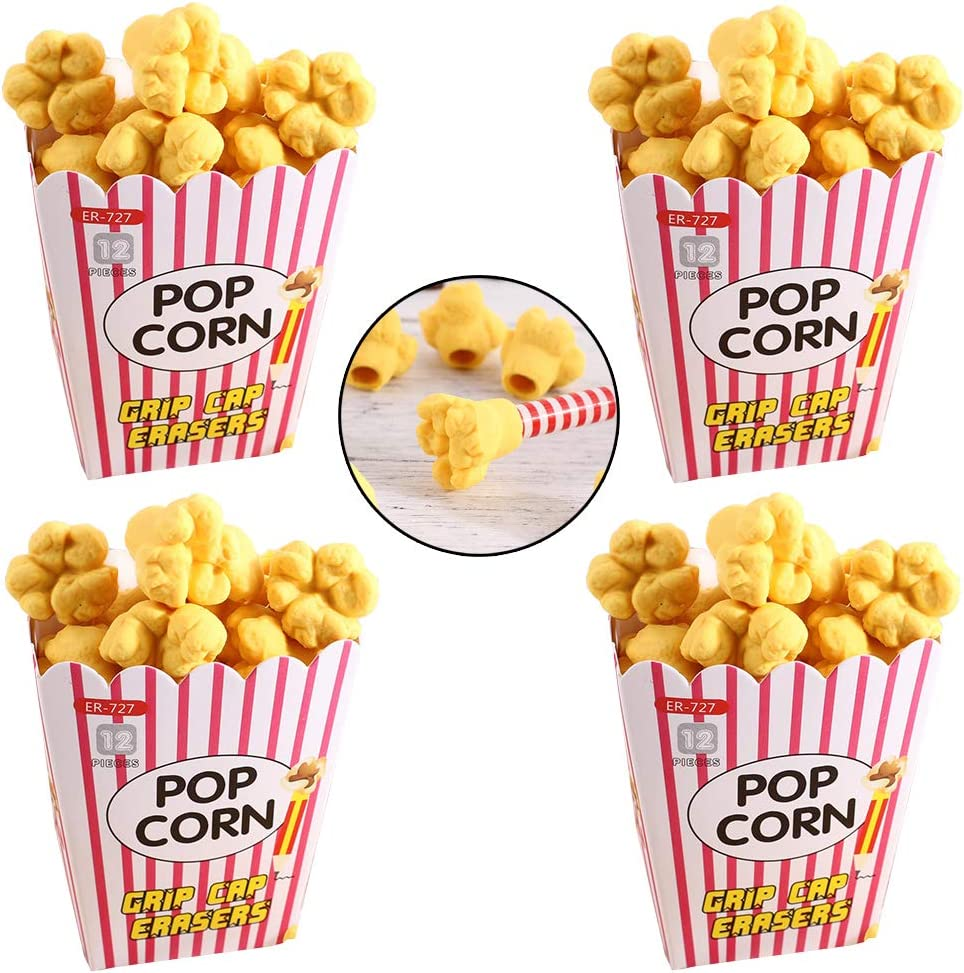 4 Boxs Popcorn Pencil Eraser Set, For Kids - Holiday Gift, Children's Gift Party Favor