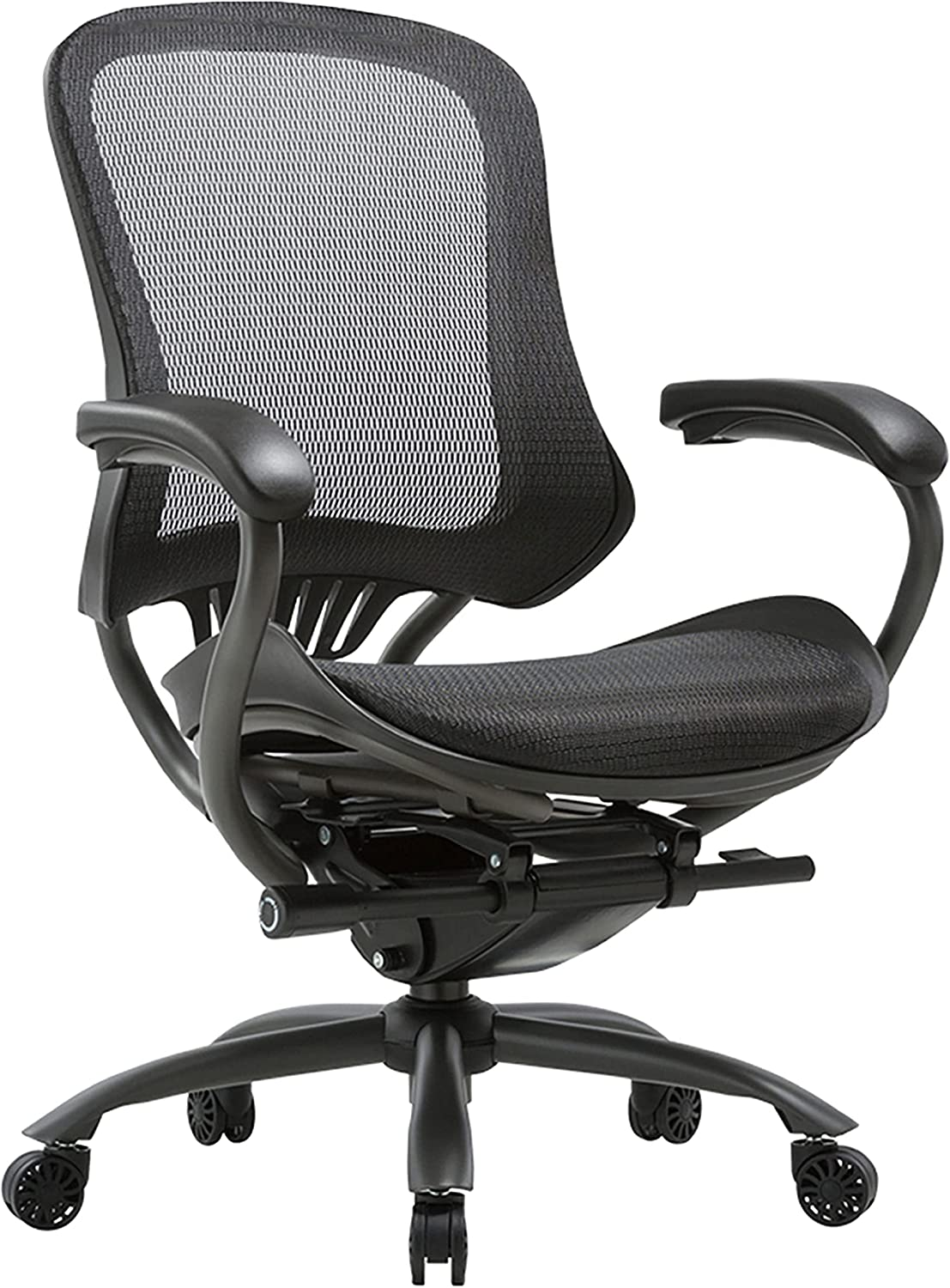 Furniture of America Ames Ergonomic Padded Leather Computer Chair, Black