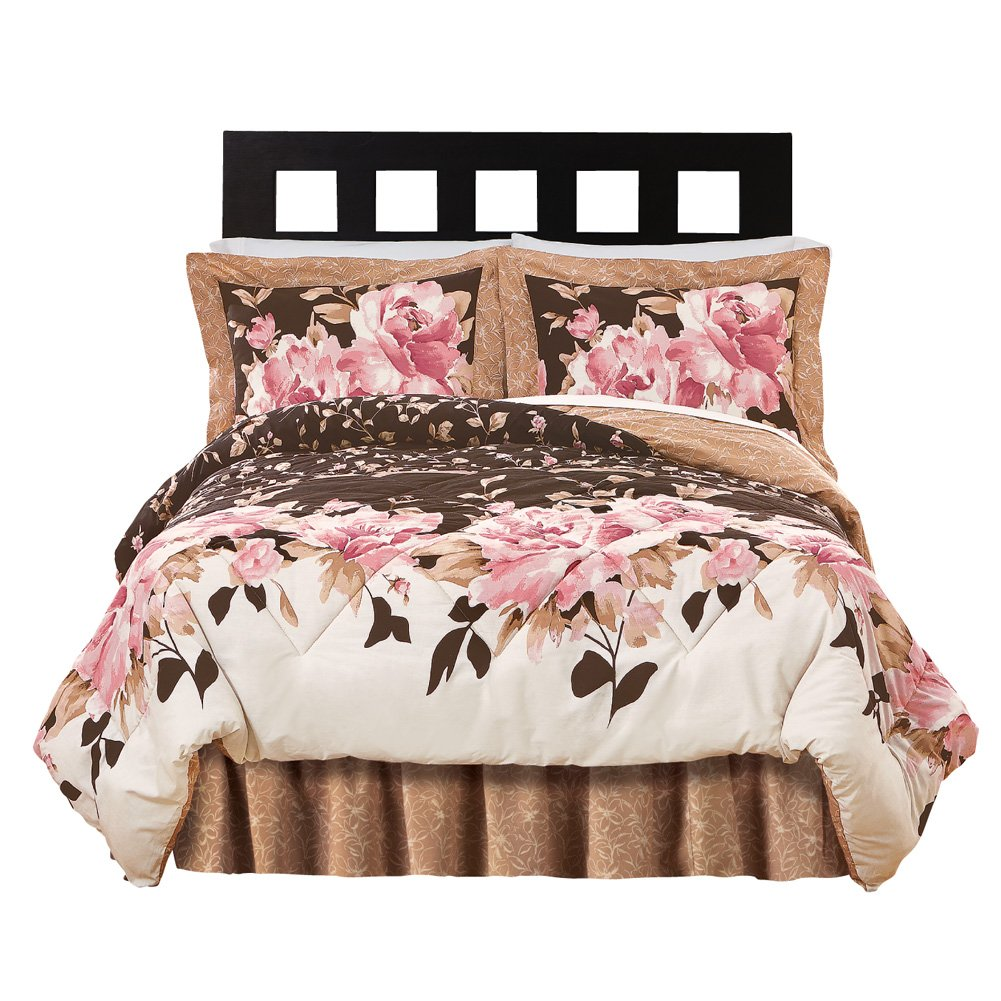 Collections Etc Capri Floral Bedroom Comforter Set - 4 pc, King, Multi