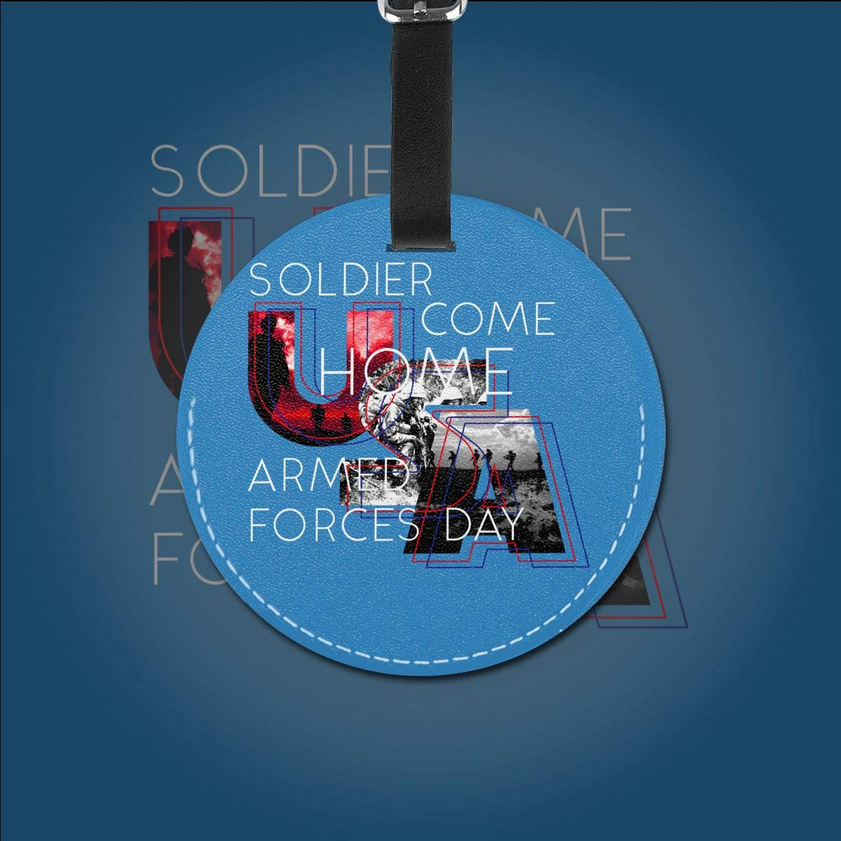 Soldier Come Home Armed Forces Day Pu Leather Double Sides Print Round Luggage Tag Mutilple Packs 1pcs,2pcs,4pcs