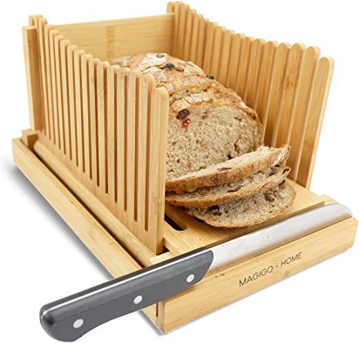 Amazon.com: MAGIGO - Cortador de pan plegable de bambú con ...