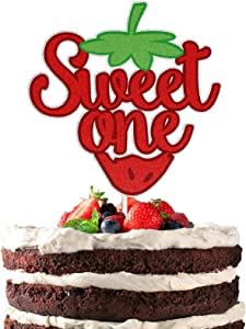 Strawberry Sweet One Cake Topper Red Glitter Happy 1st Birthday Summer Fruit Garden Theme Party Decorations 1 Year Old First Birthday Anniversary Party Supplies for Baby Girls