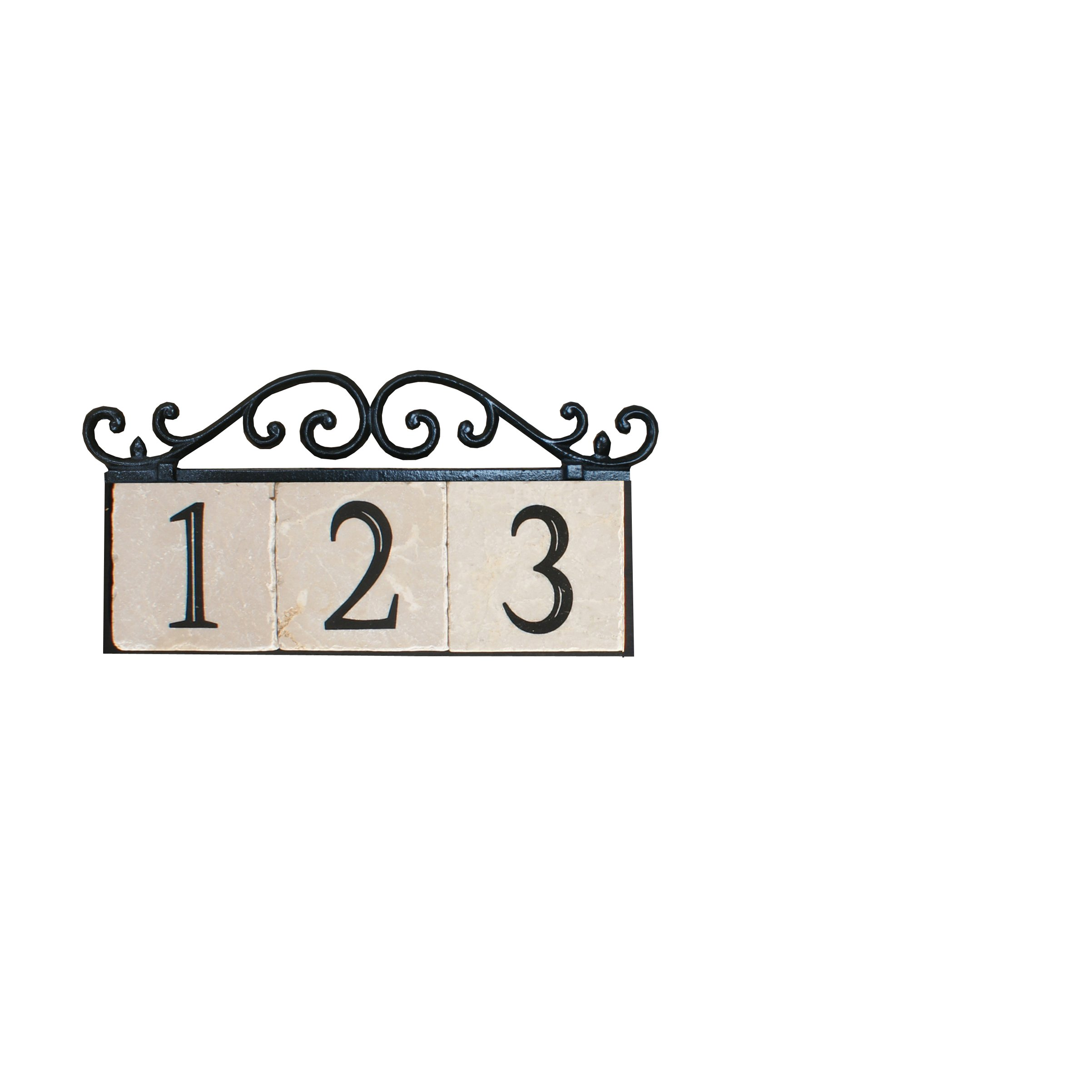 NACH KA House Address Sign/Plaque - Old World, 3 Numbers, Iron, 13 x 8 x 1''