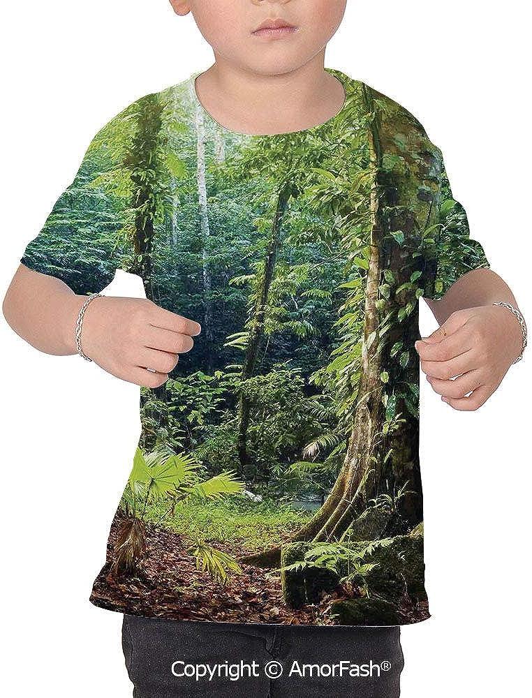 Rainforest Decorations All Over Print T-Shirt,95/% Polyester,Childrens Short SLE