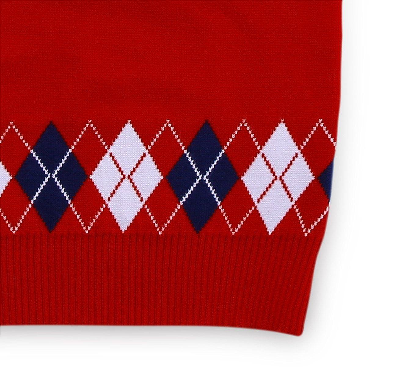 Wei Juan Boys Sweater Vest Argyle V Neck Sleeveless Pullover Knit School Waistcoat 2-7T
