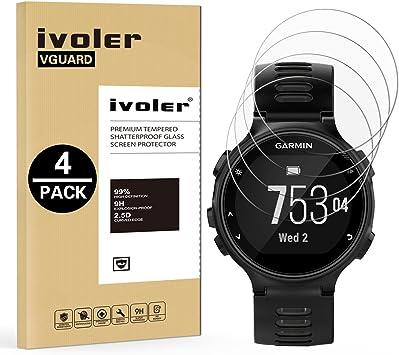 ivoler [4 Unidades] Protector de Pantalla para Garmin Forerunner 735XT, Cristal Vidrio Templado Premium: Amazon.es: Electrónica