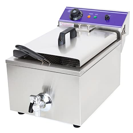 Vertes 10L Freidora eléctrica profesional de acero inox (3000 vatios, Válvula de drenaje,