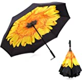 WloveTravel Inverted Double Layer Waterproof Reverse Folding Umbrella, Upside-Down Travel Umbrella for Rain Sun