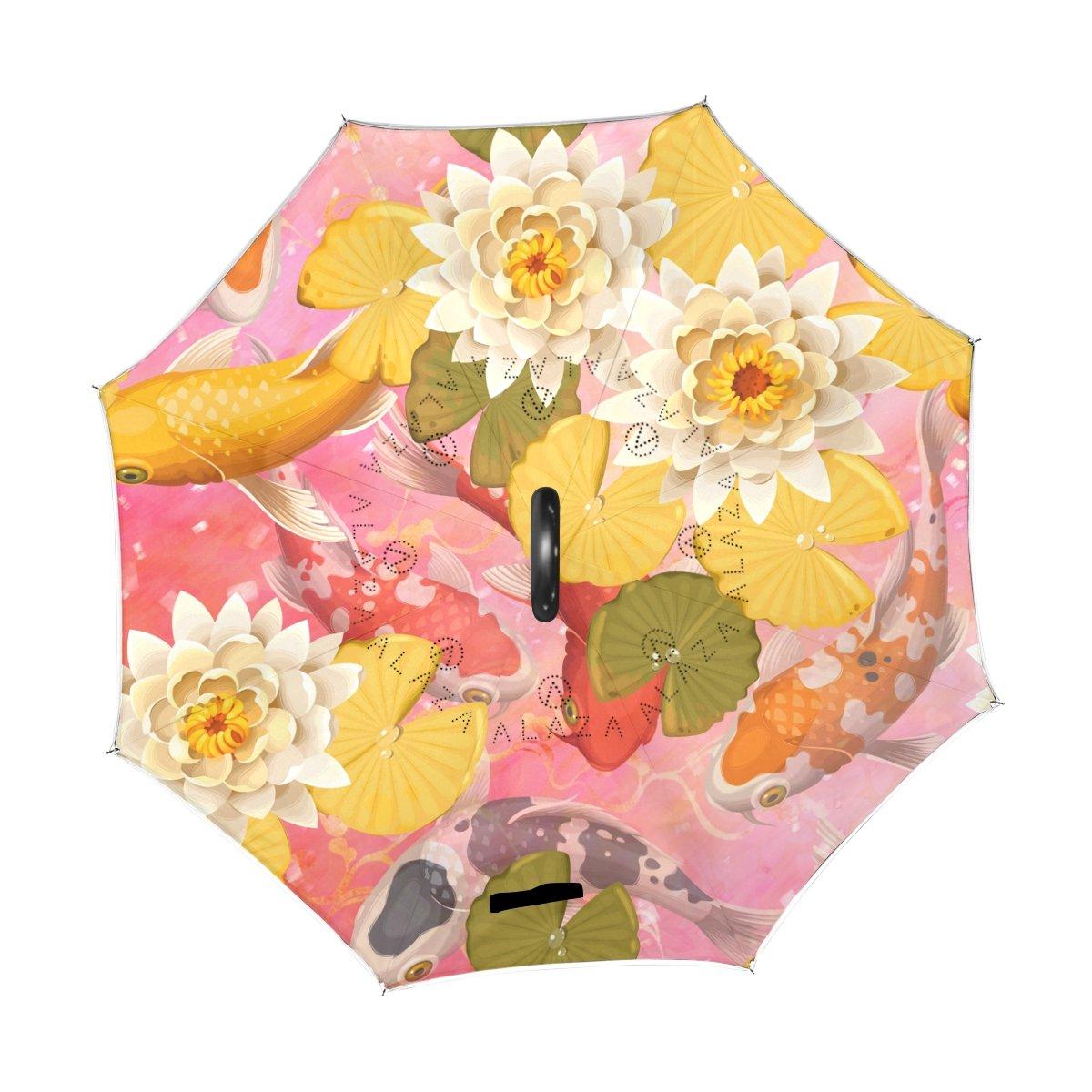 Peces Koi japoneses diseño doble capa paraguas impermeable retroceso automático abierto boca abajo coche paraguas plegable con forma de C mango: Amazon.es: ...
