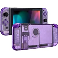 eXtremeRate Clear Atomic Purple Back Plate for Nintendo Switch Console, NS Joycon Handheld Controller Housing with Full…