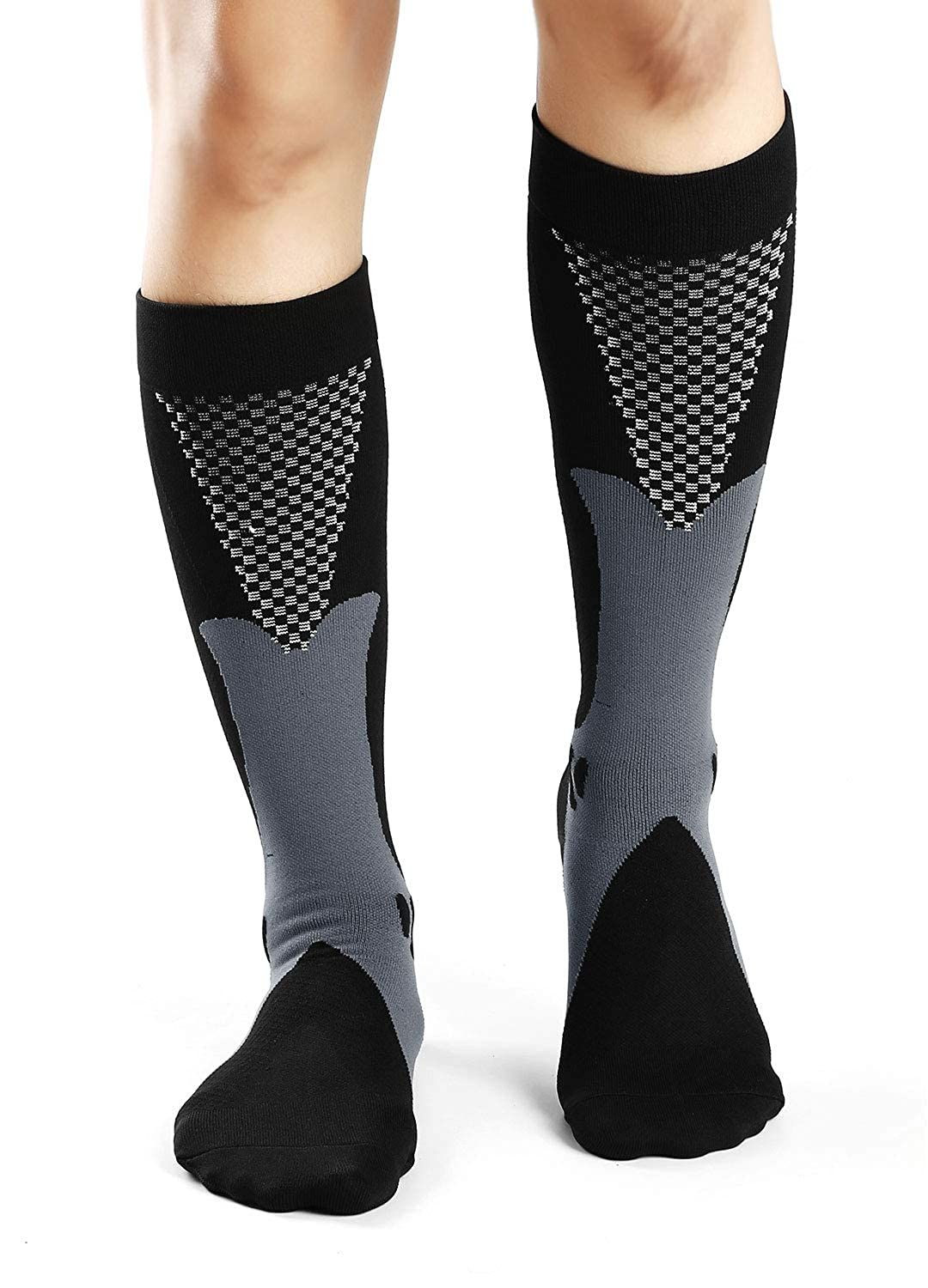 3 Pairs 15-25 mmHg Compression Socks for Men Athletic Fit for Running,Basketball,Soccer,Traveling,Nurses