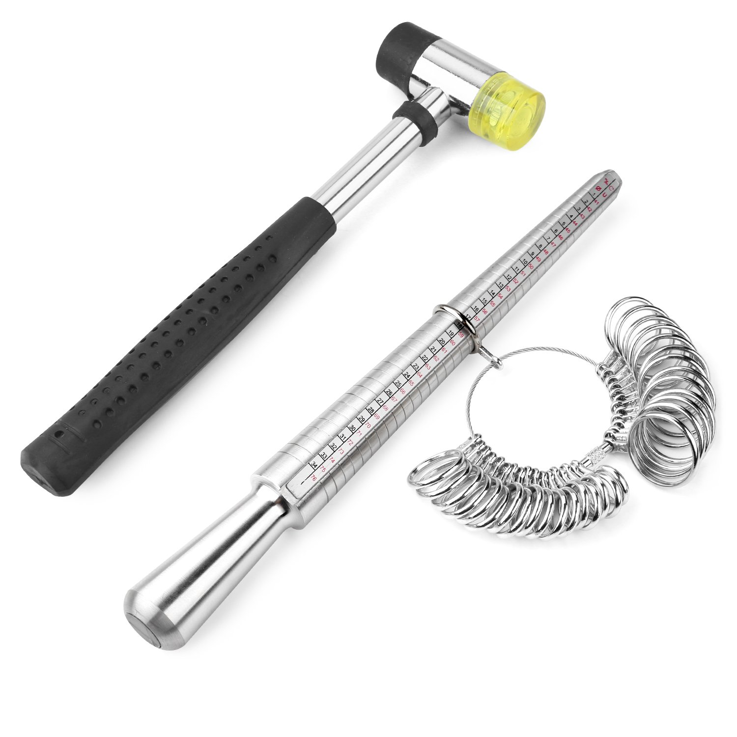 Accmor Jewelry Tools Including Rubber Jewelers Hammer & Ring Mandrel with Ring Sizer Guage - US Size 0-15 for Mother's Day by accmor