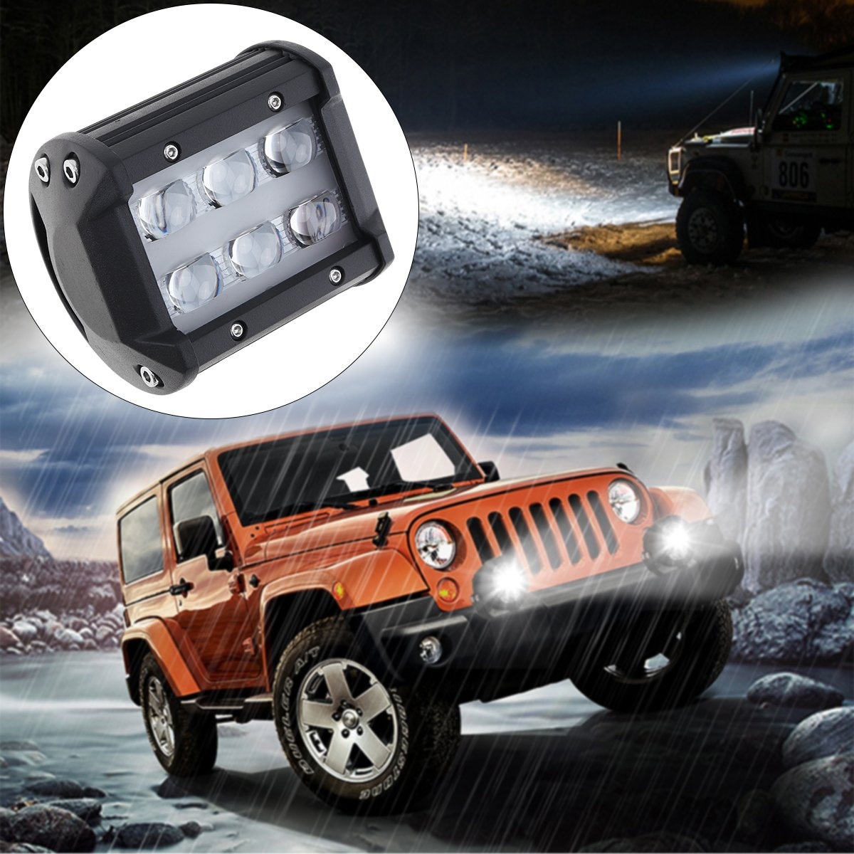 4 Inch 30W 6000LM Car Work Light with Two Rows light Bars for Off-road Car//Pickup//Wagon ePathChina®