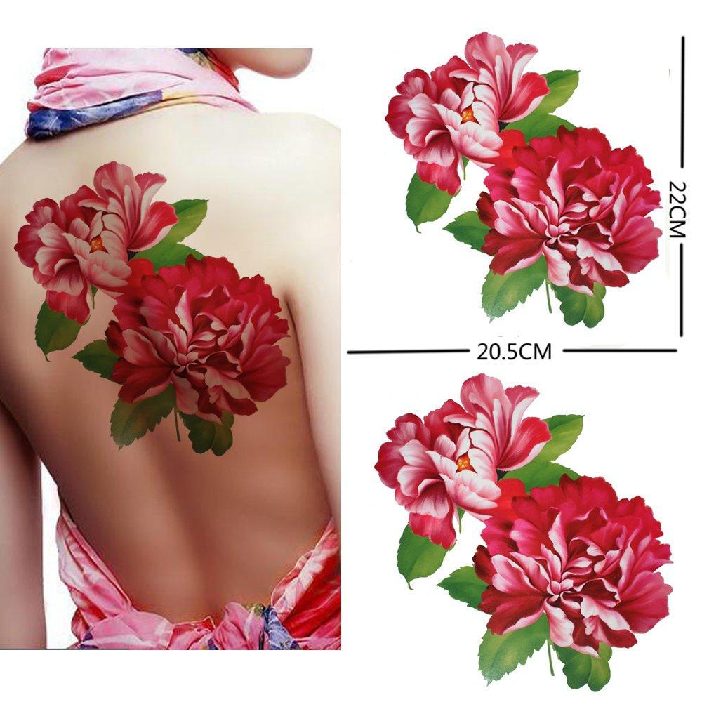 Amazon.com : Extra large size red peony flower temporary tattoos ...