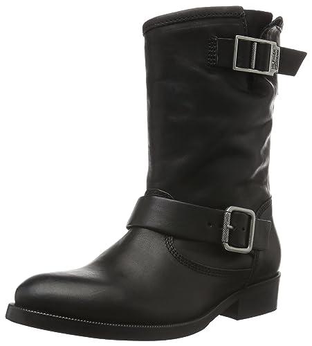 Tommy Hilfiger Denim Damen Stiefel Boots Biker Stiefeletten Gr 39 schwarz