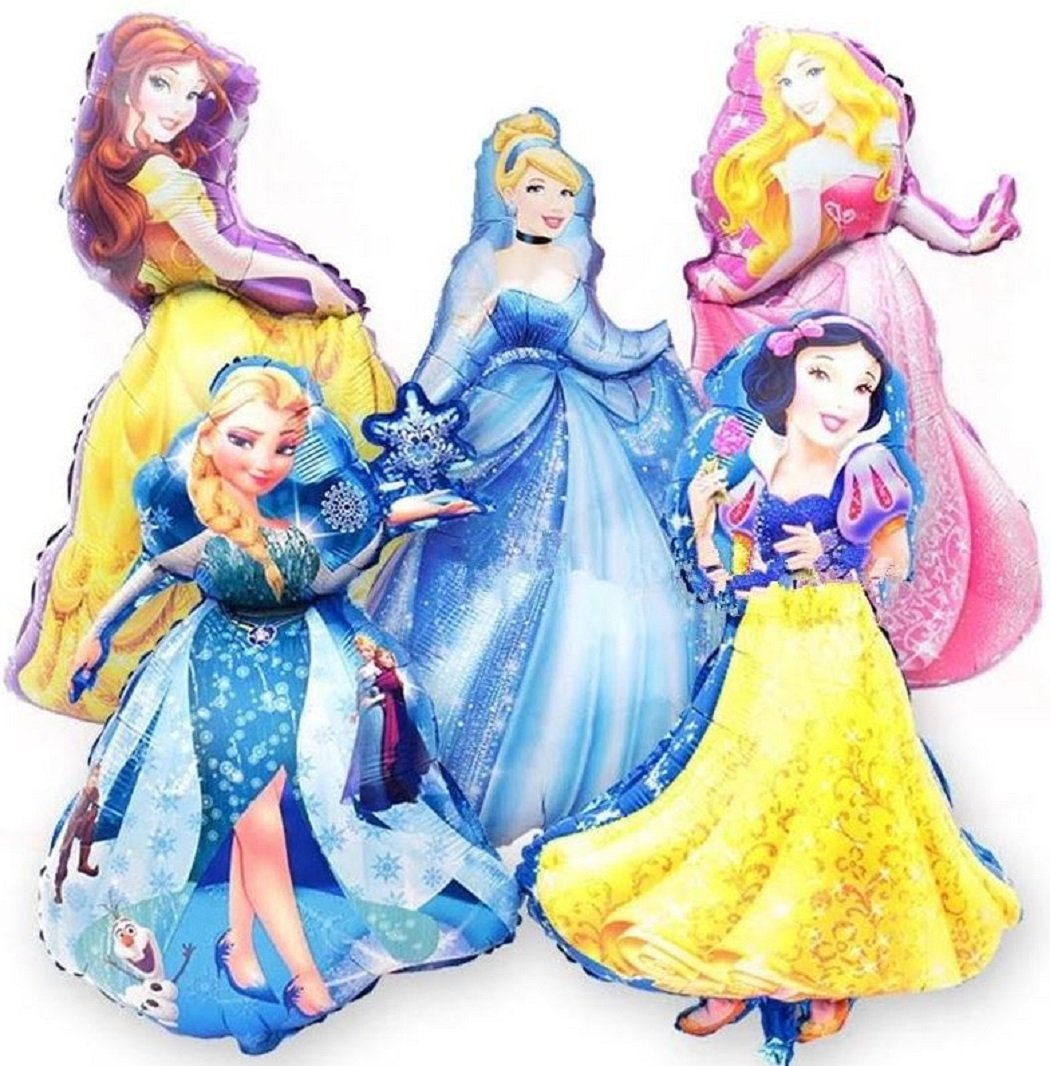 Jolly Jon Disney Princess BIRTHDAY PARTY Balloons - 5 XL Super Shape Decorations – Giant Size Belle Cinderella Elsa – Jumbo Snow White & Sleeping Beauty - Beautiful Balloon Bouquet Set