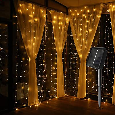 MagicLux Tech 300 LED Solar Curtain String Lights 8 Mode Decorations for Window, Garden, Yard, Patio, Pavilions, Fences, Flower Sheds, Christmas, Tree, Party, Holiday, Wedding Outdoor Indoor Walls : Garden & Outdoor