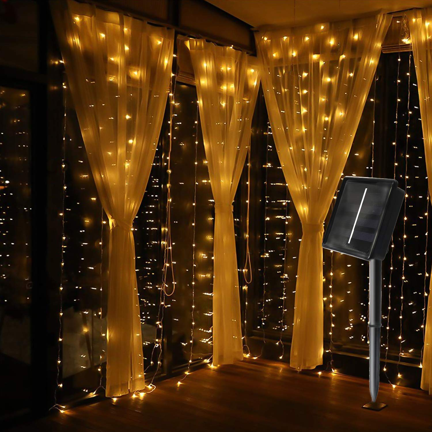 Yard Flower Sheds Tree MagicLux Tech 300 LED Solar Curtain String Lights 8 Mode Decorations for Window Garden Fences Christmas Holiday Patio Party Pavilions Wedding Outdoor Indoor Walls