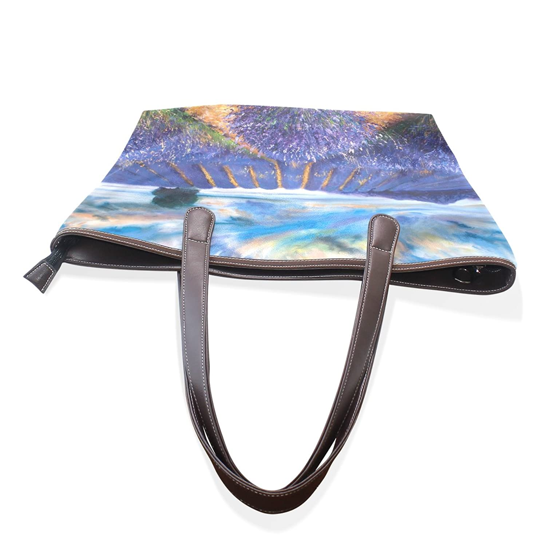 Womens Leather Tote Bag,Art Oil Painting Elegant Purple Lavender,Large Handbag