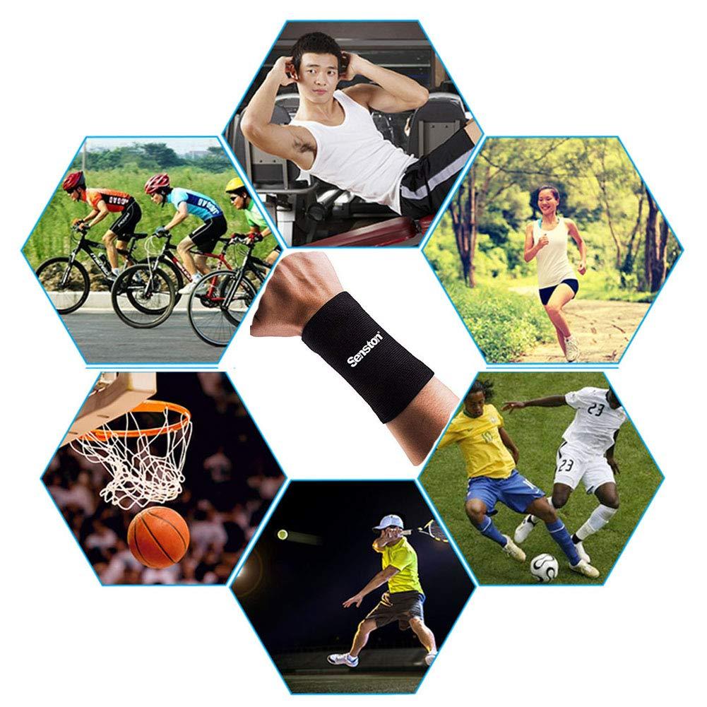 per Pallacanestro Badminton Tennis Fitness Tutti Gli Sport Distorsioni del Polso e Slogatura Fornire Il Supporto costante per Debole Polso Senston Polsino da Sport Polsini per Sudore Fascia