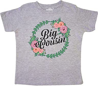 inktastic Big Cousin with Pink Flowers Toddler T-Shirt