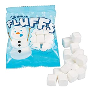 12 Mini Individually Wrapped Marshmallow - Christmas Snowman Fluffs Mini Marshmallows - Great with Hot Chocolate Melting Bombs, Hot Cocoa Goodie Bags, by 4E's Novelty