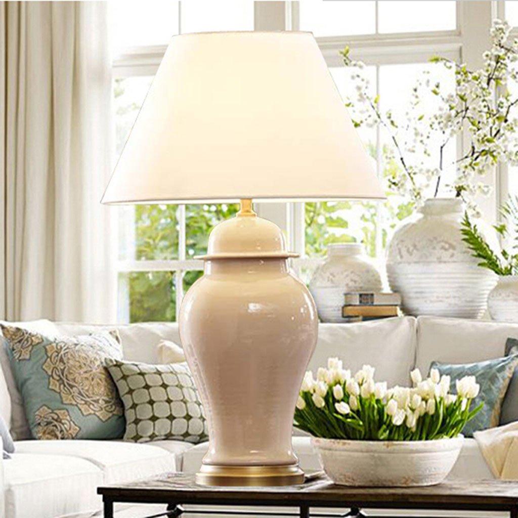 Tischlampe Groß Wohnzimmer Nachttischlampe Minimalismus Keramik Hellblau Beige Schlafzimmer Leselicht A+ (Color : Beige-L:40 * 68CM/15.8 * 26.8IN)