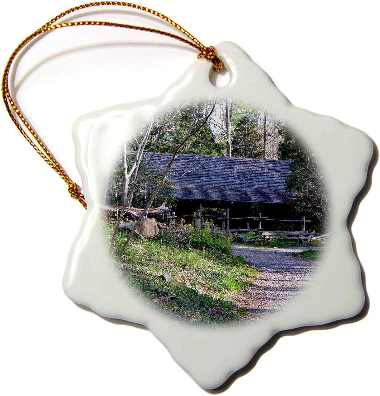 3dRose A Cabin at The North Carolina Botanical Gardens - Ornaments (ORN_160954_1)