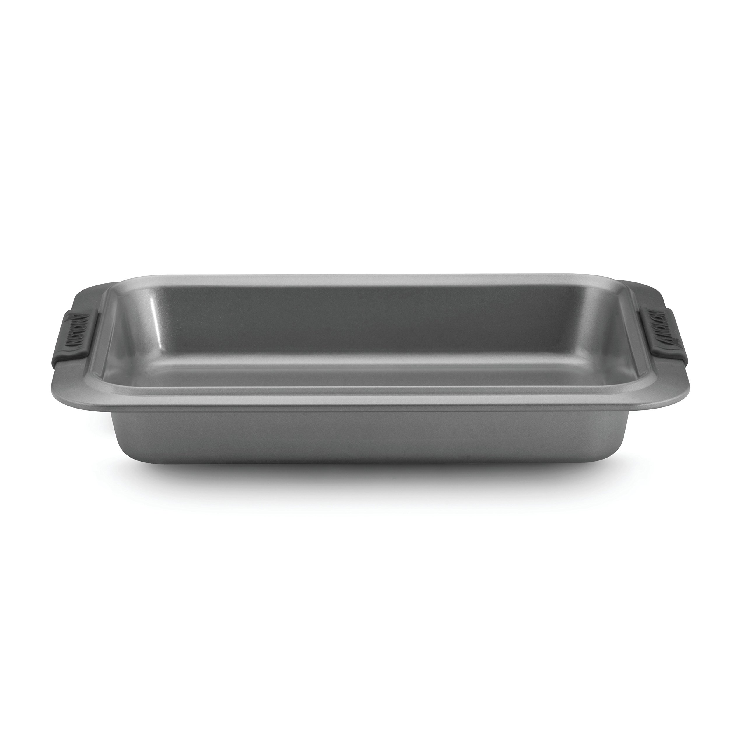 Anolon Advanced Nonstick Bakeware 9-Inch x 13-Inch Rectangular Cake Pan, Gray with Silicone Grips