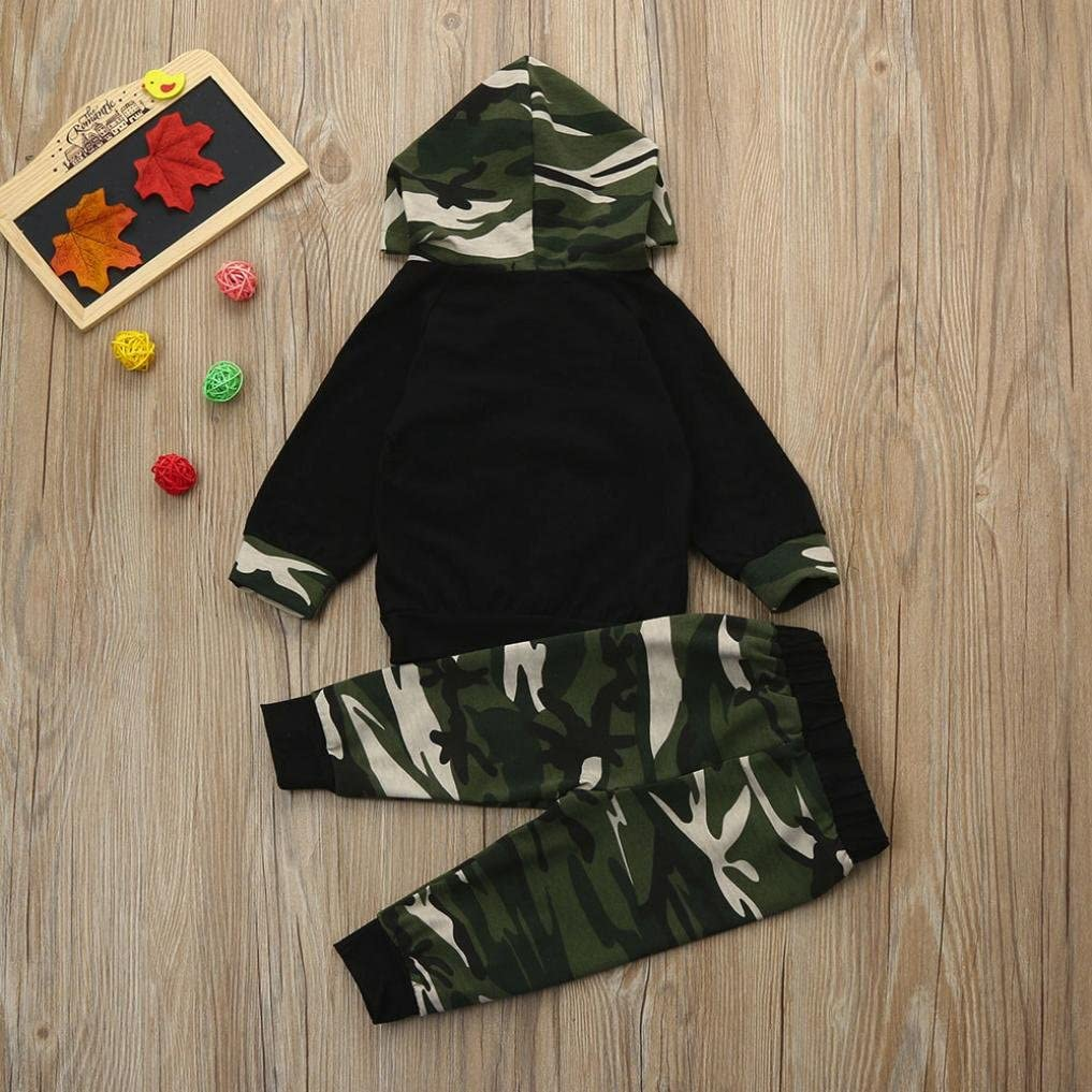 Fashion Cute Toddler Kids Baby Boys Letter Tops T-Shirt Camo Pants Set 2PCS Clothes Outfits HStore Baby Clothes