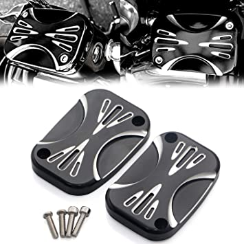 Aluminum CNC Shallow Cut Brake Master Cylinder Cover For Harley Touring Street Glide Road King /& Tri Glide Ultra Classic