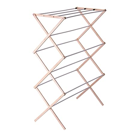 household essentials collapsible folding wooden clothes drying rack for laundry pre assembled