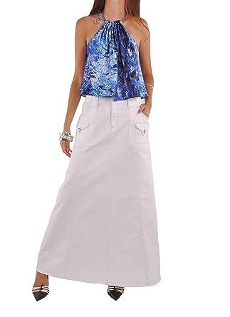 c660a609d8 Style J Casual White Long Denim Skirt-White-26(6) at Amazon Women's ...