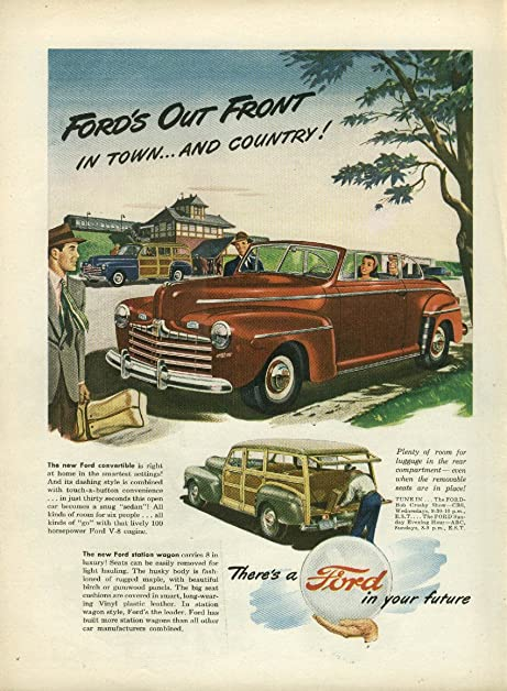 Fords Out Front In Town Country Convertible Station Wagon Ad