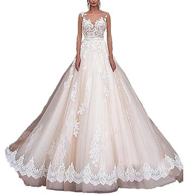 RMDress Vintage Princess Wedding Dresses Lace Country Western Bridal ...