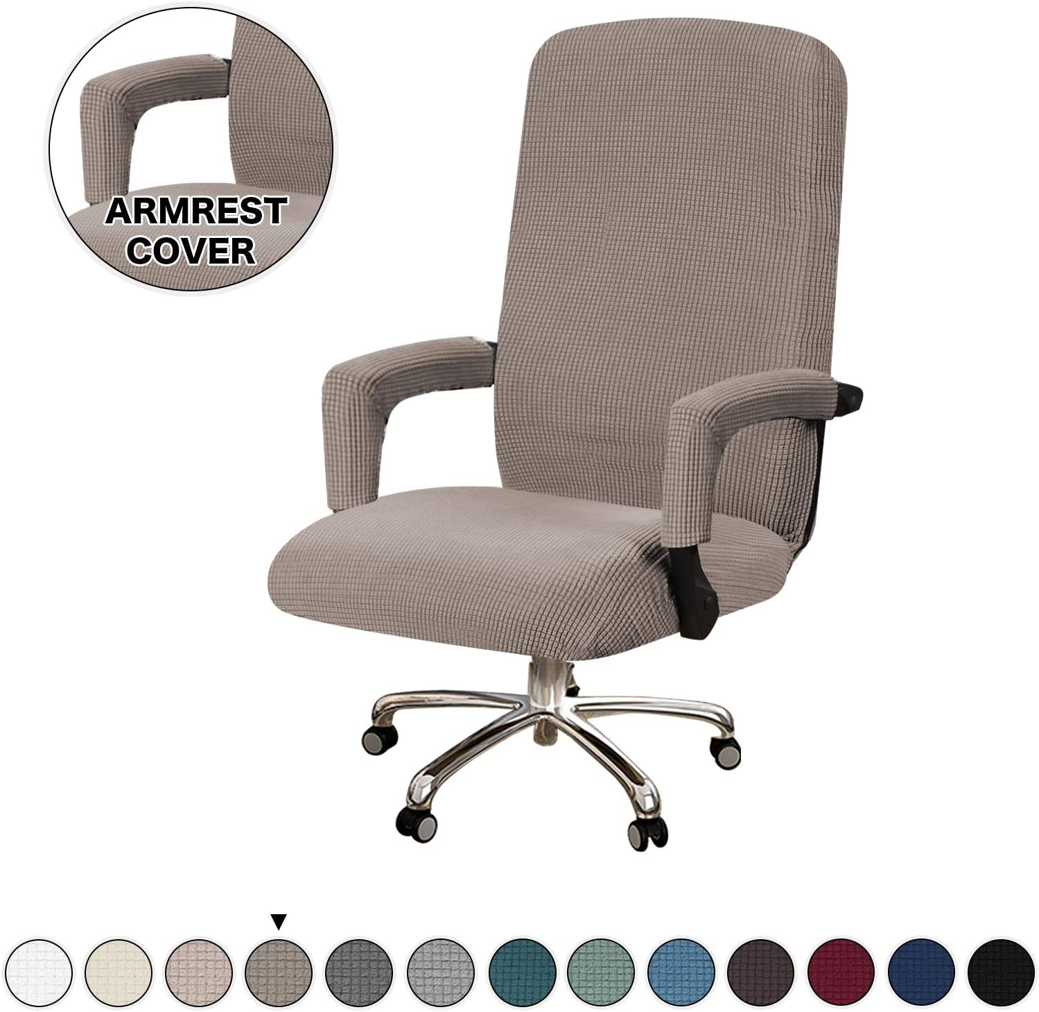 Turquoize Office Chair Cover Stretch Computer Office Chair Cover for High Back Chair Cover with Armrest Cover Jacquard Slipcover for Office Chair Seat Covers, Machine Washable, Medium, Taupe