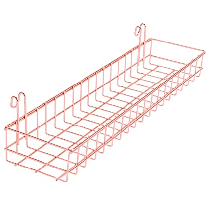 Simmer Stone Rose Gold Basket For Wire Wall Grid Panel, Wall Mount Hanging  Organizer,