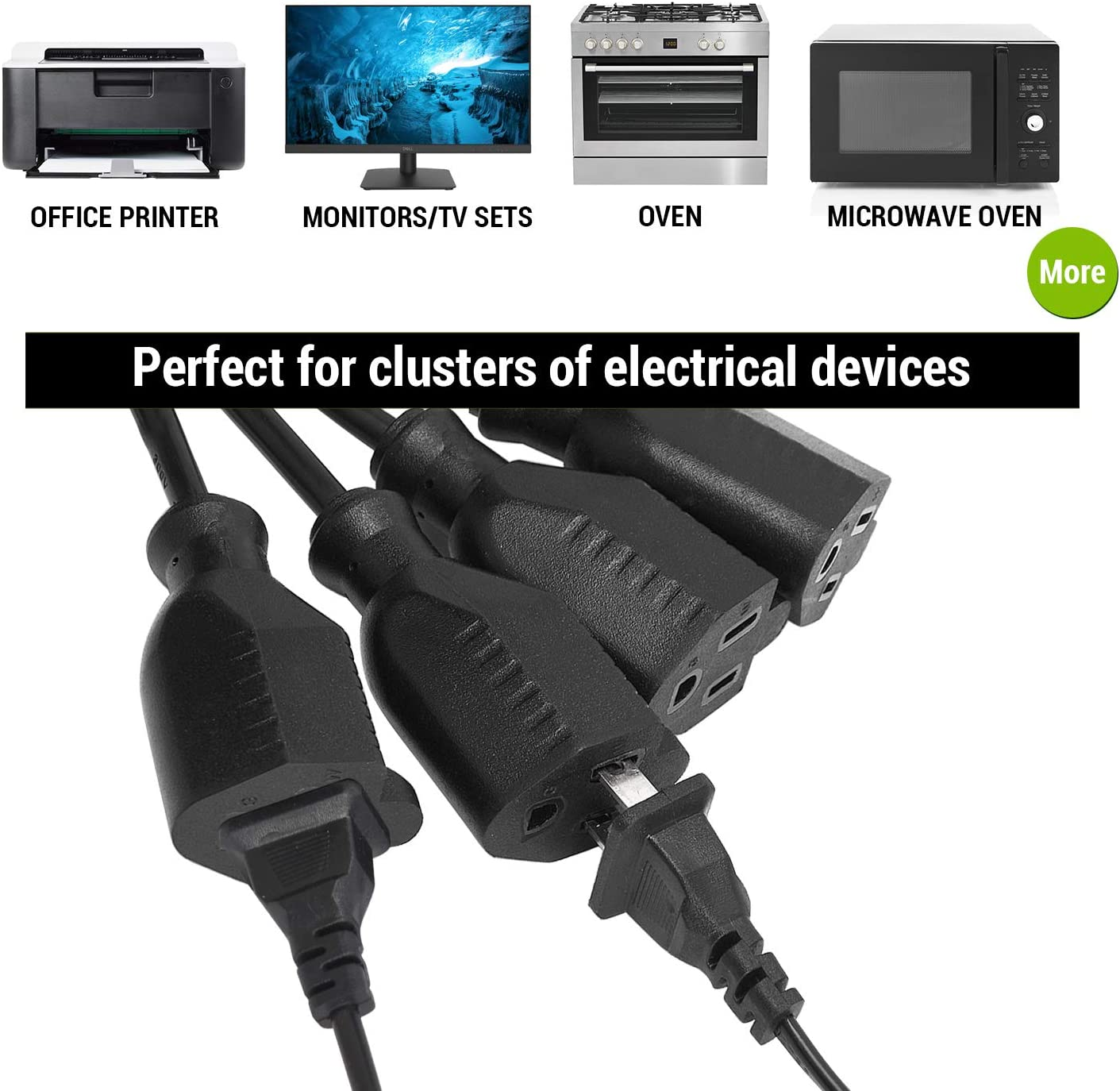 DJ Setups Facmogu Black 1 to 4 Power Cord Extension Y Splitter Cable Holiday Lights ect. Travel 4 Way Power Splitter Cord Suitable for Home Use