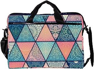 Lightweight 15 inch Laptop Bag Business Messenger Briefcases Vintage Triangle Pattern Waterproof Computer Tablet Shoulder Bag Carrying Case Handbag for Men and Women
