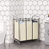 SONGMICS URLS72MZ 3-Bag Laundry Sorter Cart on