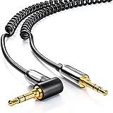 Cavo jack PREMIUM deleyCON a spirale da 1 m, da 3,5 mm 90° - cavo jack Stereo Audio da 3,5 mm, connettore da 3,5 mm placcato in oro