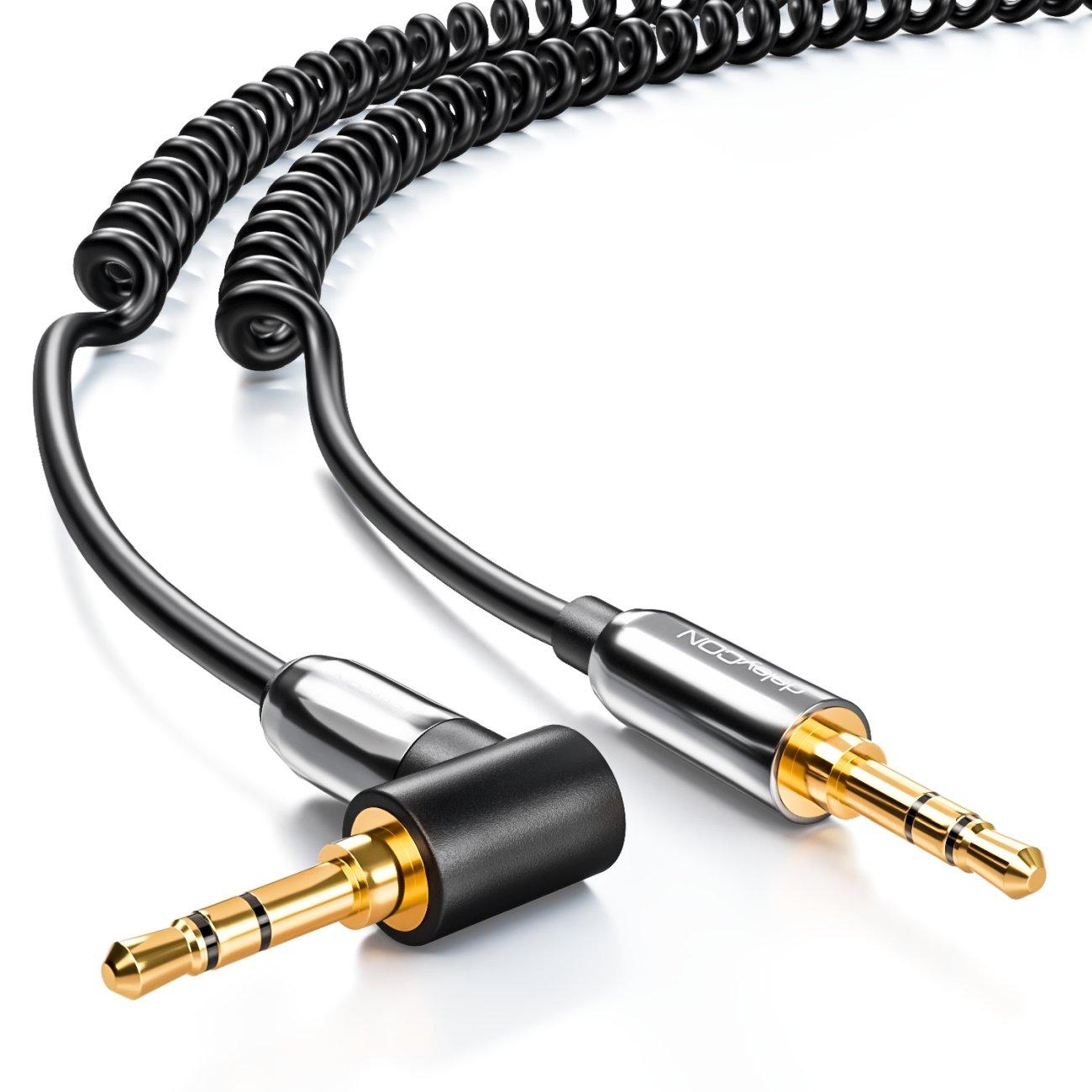 Cable jack en espiral deleyCON PREMIUM de 2m - conector jack de 3, 5 mm macho-macho 90° - audio estéreo - conector bañado en oro 5 mm macho-macho 90° - audio estéreo - conector bañado en oro MK1004