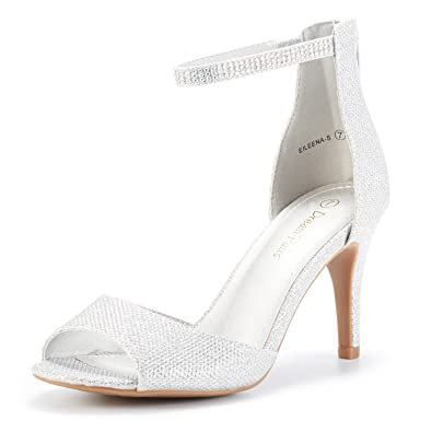 dee6d21cf54 DREAM PAIRS Women s EILEENA-S Shine Silver Peep Toe Stiletto Ankle Strap  Pump Heel Sandals
