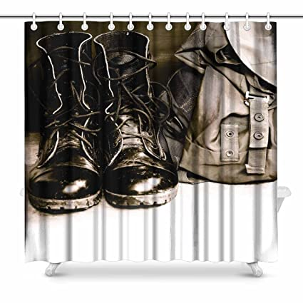 InterestPrint Cool Black Leather Army Boots And Bag Soldier House Decor Shower Curtain For Bathroom