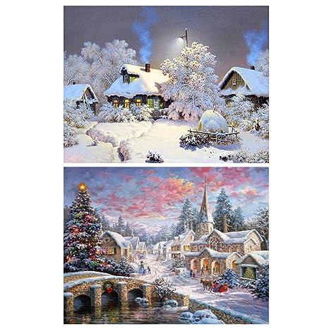 Sunnay Diamond Painting Set 30x40cm,Schneeberg Weihnachten 5D Diamant Painting Set Full Stickerei Gro/ß Bilder DIY Diamonds Malerei