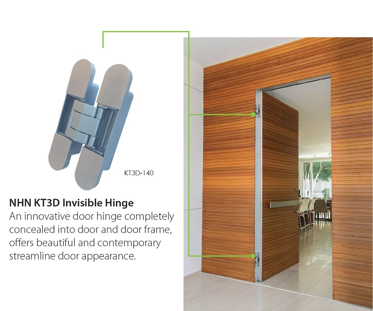 KT3D-140 Invisible Hinge, Set of Two(2), Up to 132lbs. Doors, Concealed and Streamline Door Hinge, 3-D Adjustable (Up to 132lbs) by NHN (Image #2)