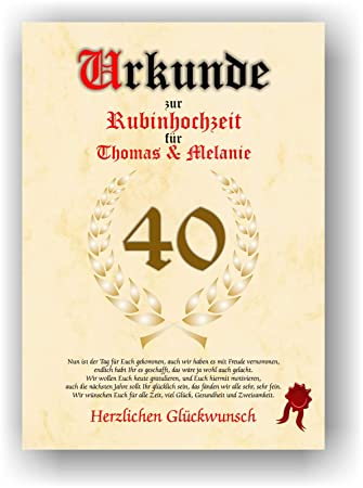 40 Hochzeitstag Gedicht   Urkunde Zum 40 Hochzeitstag Rubinhochzeit Geschenkurkunde Rubin