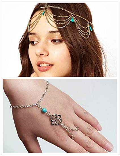 Amazon.com: Turquoise Headband & Bracelet, Boho Gold Hair Chain ...